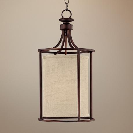 "Midtown Burnished Bronze Circular 11"" Wide Foyer Chandelier"