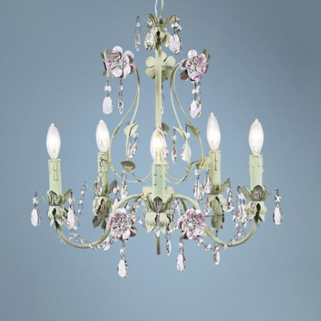 "Flower Garden Pink & Green 17"" Wide Chandelier"