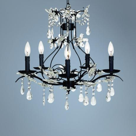"Cinderella Black 24"" Wide Chandelier"