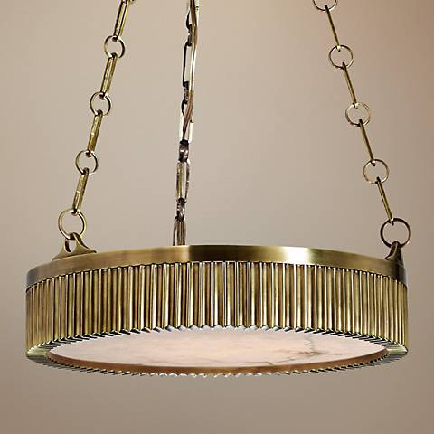 "Hudson Valley Lynden 16"" Wide Aged Brass Pendant Light"