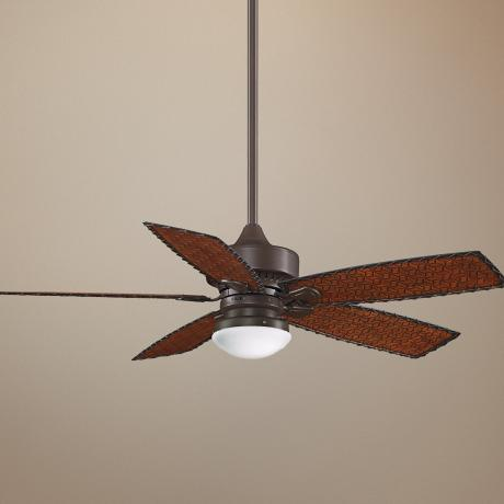 "52"" Fanimation Cancun Bamboo Blade Ceiling Fan with Light"