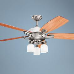 "54"" Kichler Brinbourne Pewter White Glass Ceiling Fan"