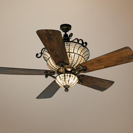 "56"" Craftmade Cortana In Peruvian With Crystal Ceiling Fan"