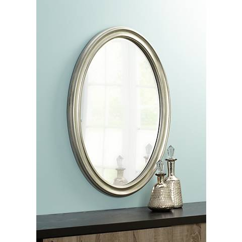 "Flanders Antique Silver Finish Oval 34"" High Wall Mirror"