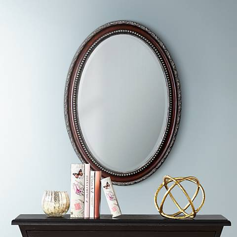 "Uttermost Montrose 35"" High Mahogony Wall Mirror"