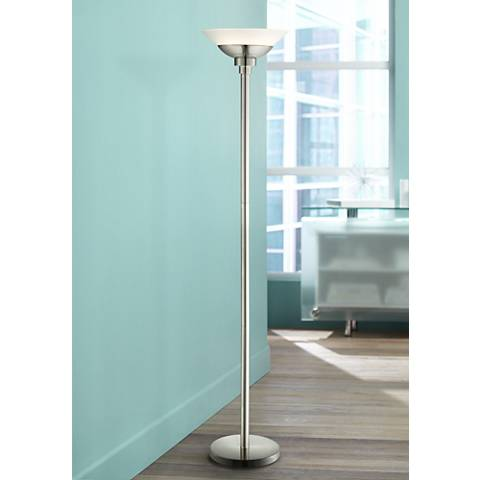Metro Brushed Steel Torchiere Floor Lamp