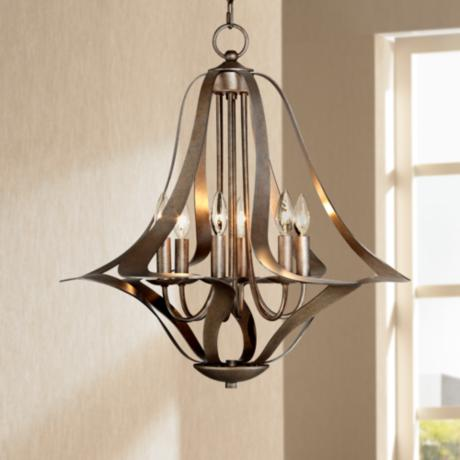 Possini Euro 6-Light Corinthian Bronze Bell Chandelier