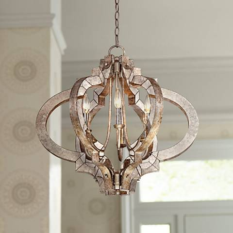 Ornament Aged Silver 23 1 4 Quot Wide 6 Light Chandelier