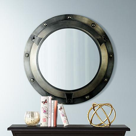 "Vista Del Mar Antiqued 34"" High Wall Mirror"