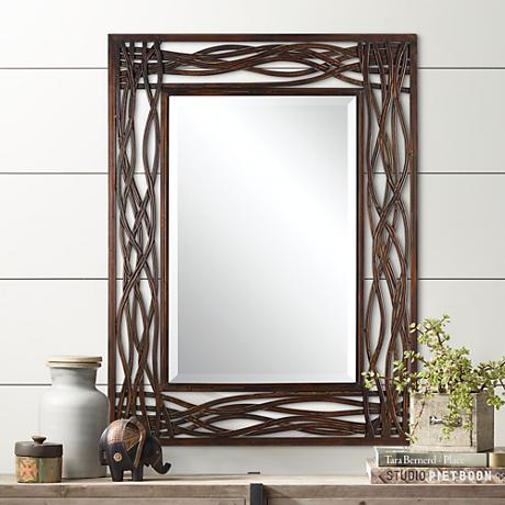 Uttermost Dorigrass Distressed Mocha Brown Wall Mirror