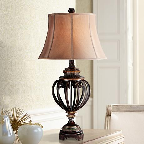 "Open Iron Scroll 36"" High  Urn Table Lamp"