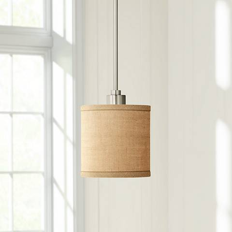 "Woven Burlap 7"" Wide Mini Pendant Light"