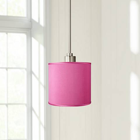 Pink Orchid Faux Silk Mini Pendant Light