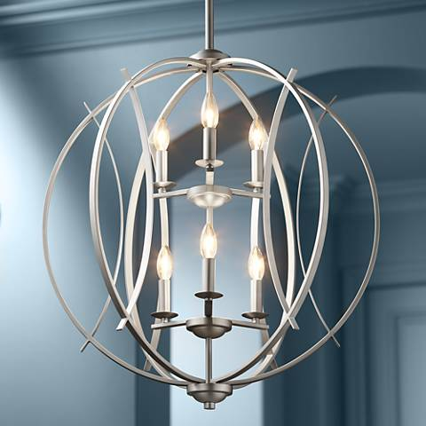 "Brushed Nickel Spherical 24"" Wide 6-Light Pendant Light"