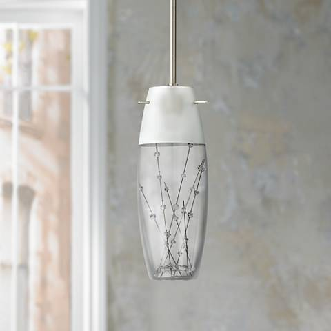 "Contemporary Etched Art Glass 4"" Wide Mini Pendant"