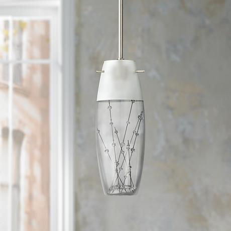 "Contemporary Etched Art Glass 12"" High Pendant Chandelier"