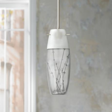 "Contemporary Etched Bubble Glass 12"" High Pendant Chandelier"