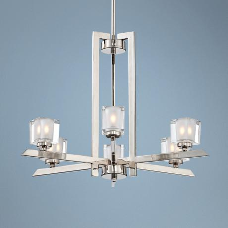 "Chrome Finish Glass Cube 22 1/4"" Wide 6-Light Chandelier"