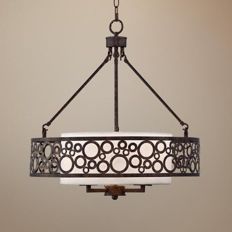 "Bronze Finish Ringlet 22"" Wide 3-Light Pendant Light"