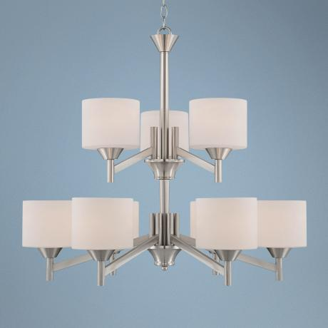 "Starry Brushed Steel 30"" Wide Two-Tier Entry Chandelier"