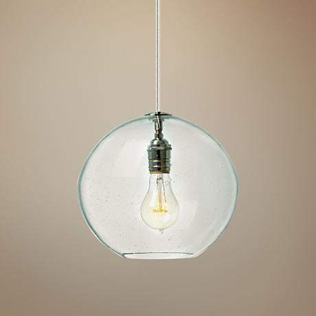 "LBL Isla Clear Nickel 9 3/4"" Wide Globe Pendant Light"