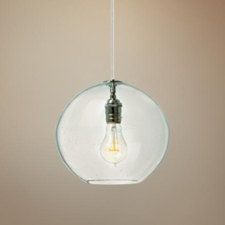 "LBL Isla Clear Nickel 9 3/4"" Wide Pendant Light"