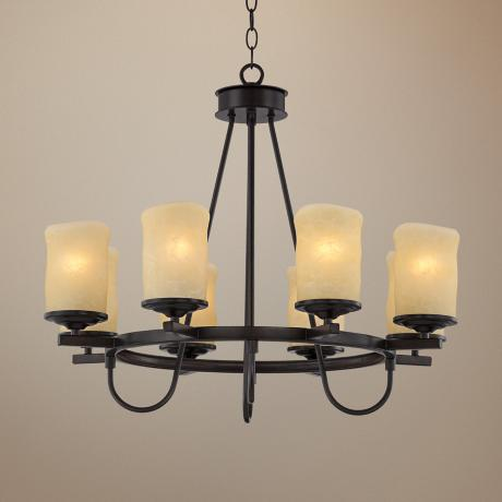 "Rustic Candle Dark Bronze 27 1/2"" Wide Chandelier"