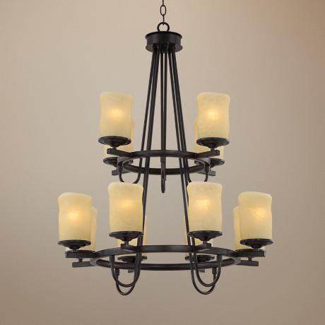 "Rustic Candle Dark Bronze 27"" Wide Two-Tier Chandelier"