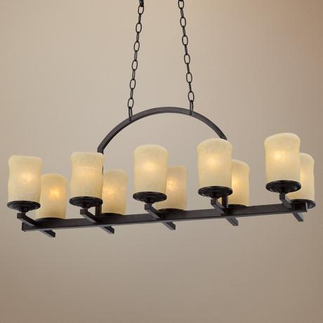 "Rustic Candle Dark Bronze 35"" Wide Island Chandelier"