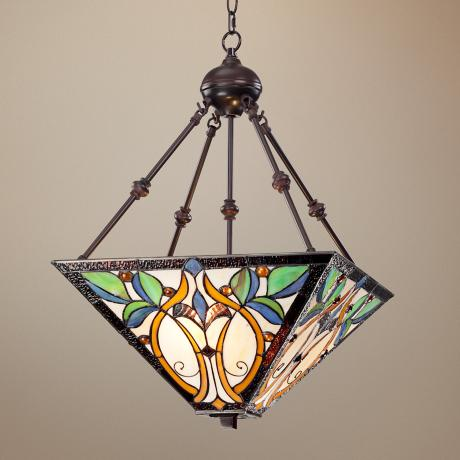 "Tiffany Style 2-Light Leaf 26"" High Glass Pendant Light"