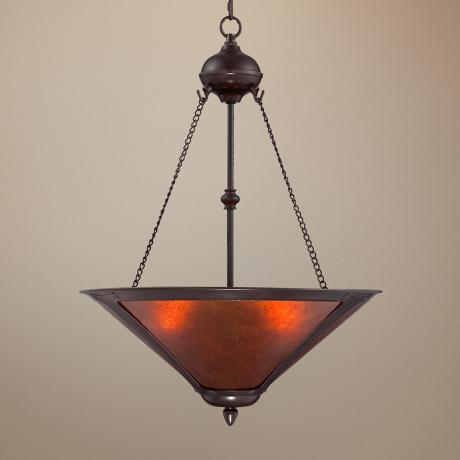 "Mission Style Oil-Rubbed Bronze 17"" Wide Mica Pendant Light"