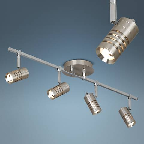 Steel and Chrome 4-Light Circle Slot Track Fixture