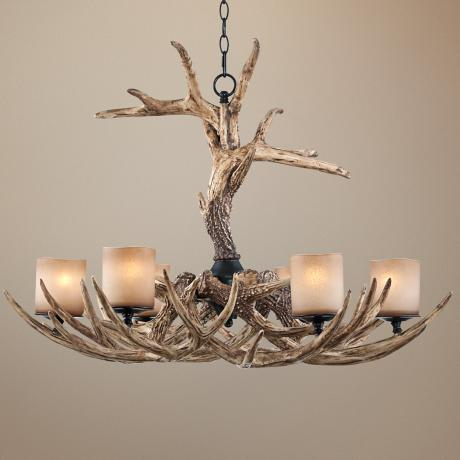"Faux Antler 35"" Wide 6-Light Chandelier"