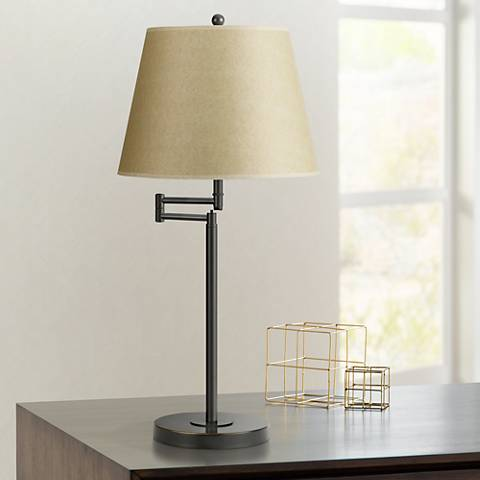 Dark Bronze Finish Metal Swing Arm Desk Lamp