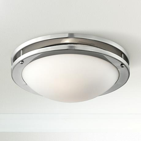 "Brushed Nickel White Glass 13 1/4"" Wide Ceiling Light"