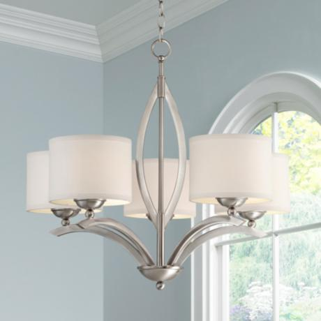 "Brushed Nickel Linen Shade 27 1/4"" Wide 5-Light Chandelier"