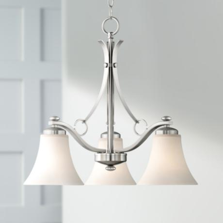 "Brushed Nickel White Glass 30"" Wide 3-Light Chandelier"