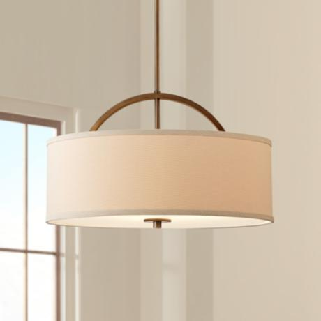 "Brushed Bronze Linen Shade 20"" Wide Pendant Light"