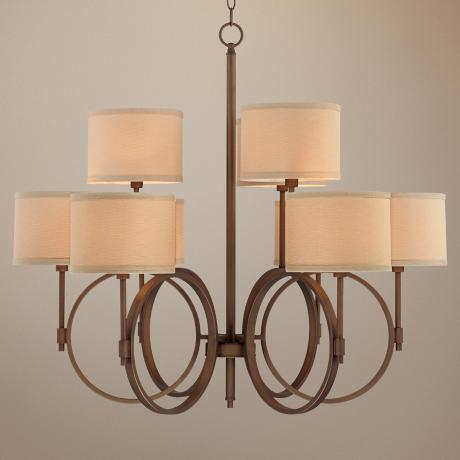 "Brushed Bronze Linen Shade 33 3/4"" Wide 9-Light Chandelier"