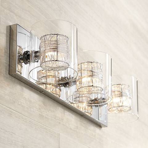"Bathroom Light Fixtures Ceiling possini euro design wrapped wire 22"" wide bathroom light - #t8917"