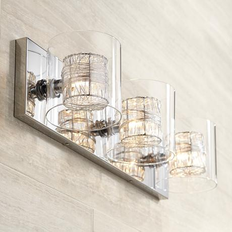 Possini euro design wrapped wire 22 wide bathroom light for Bathroom 3 light fixtures