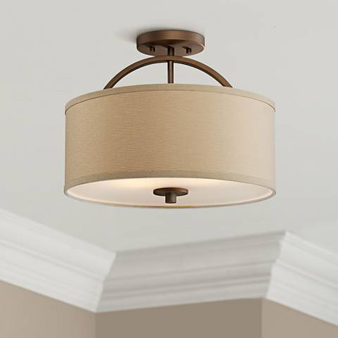 "Halsted Brushed Bronze Semi-Flush 15"" Wide Ceiling Light"