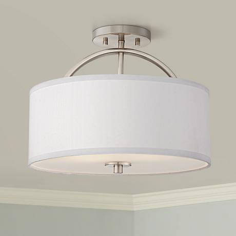 Halsted Brushed Nickel Semi Flush 15 Wide Ceiling Light T8957 Lamps Plus