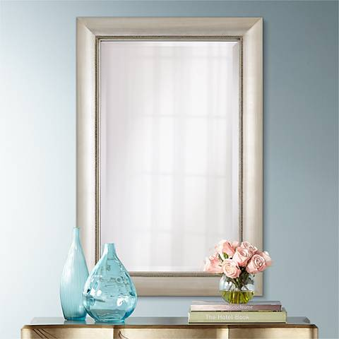 "Jocelyn Silver Beading 36"" High Rectangular Wall Mirror"