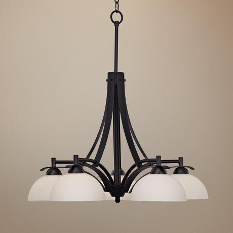"Bravura Black with Opal Glass 26"" Wide Chandelier"