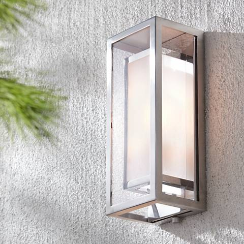 "Possini Euro Design Double Box Chrome 15 1/2""-H Wall Light"