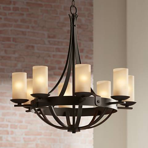 Sperry bronze 28 w scavo glass chandelier t9527 for Casual dining chandeliers