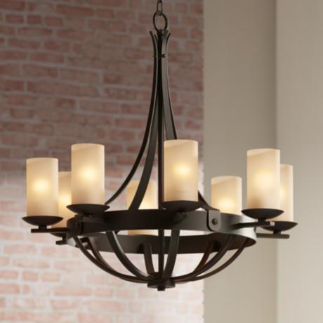 "Bronze 28"" Wide Scavo Glass Chandelier"