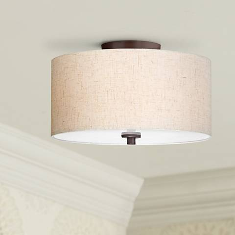"Sylvan 14""W Off-White Oatmeal Drum Bronze Ceiling Light"