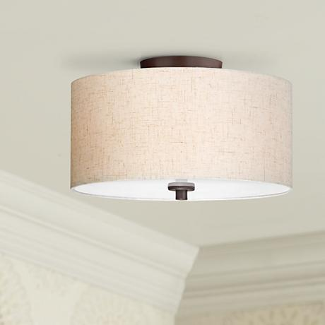 "Bronze with Off White Shade 14"" Wide Ceiling Light Fixture"